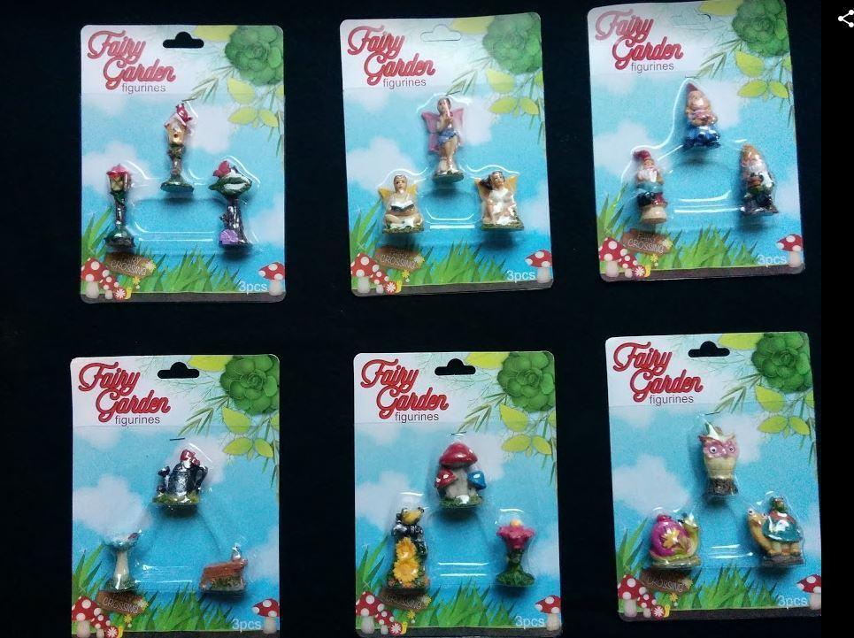 Complete Set Of 18 Tiny Miniature Fairy Gnome Garden Figurines